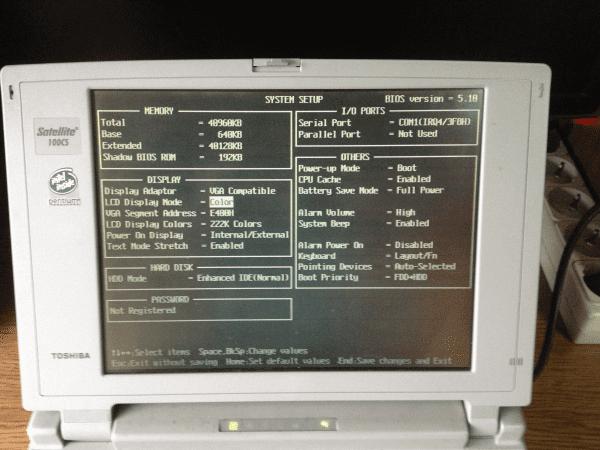BIOS Toshiba Satellit 100CSноутбук  Тошиба Сателлит биос