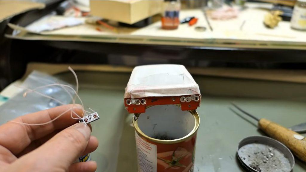установка рабочих задних фонарей на ваз 2108 модель 1:24 на радиоуправлении rc-model wi-fi