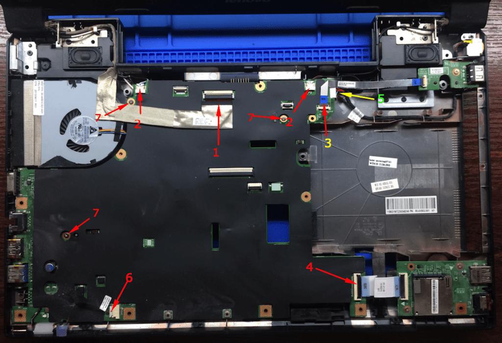 Lenovo B590 вид изнутри с указанием назначения шлейфов ноутбук Леново разборка
