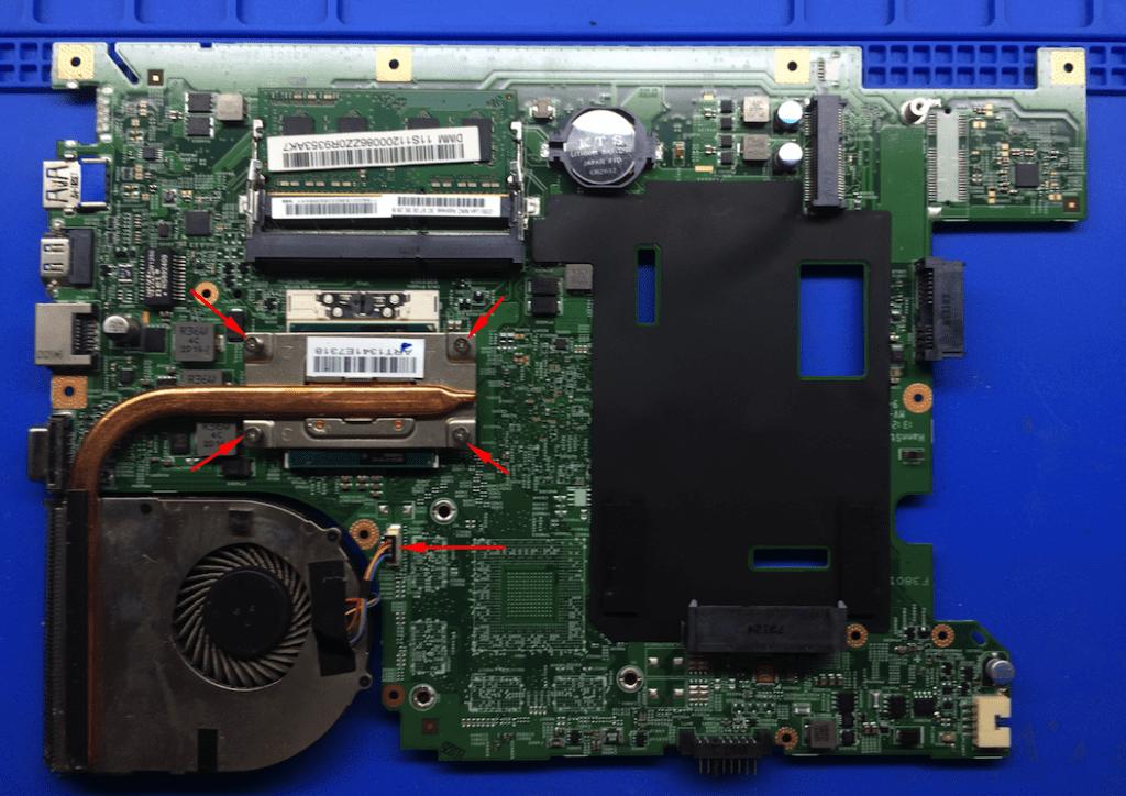 Снятие системы охлаждения ноутбука Леново 590