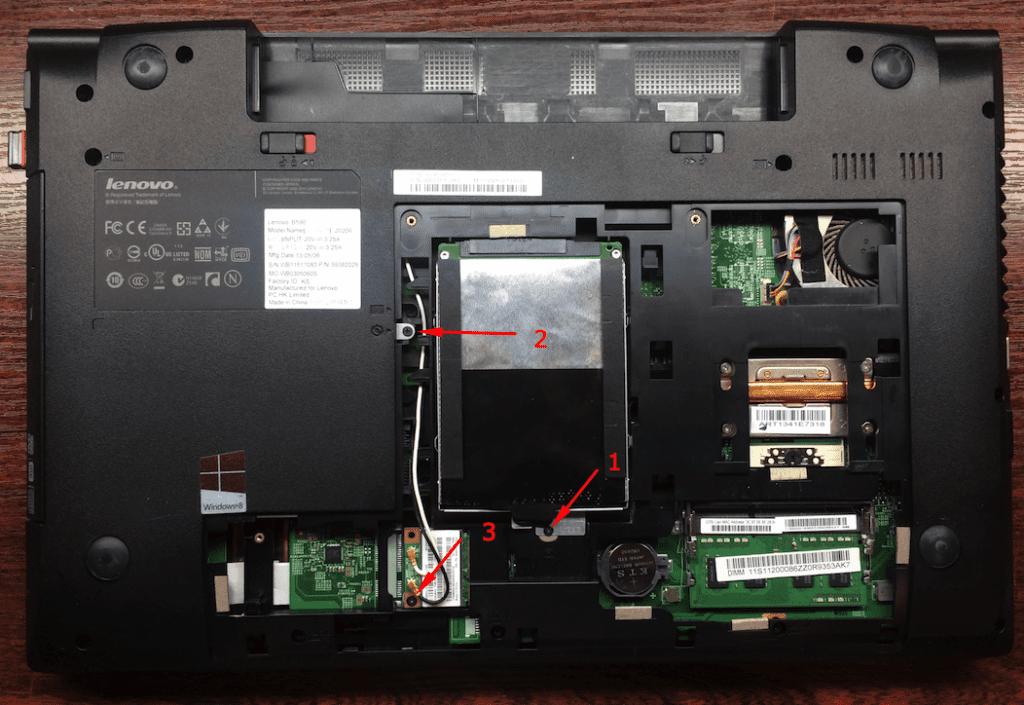 Снимает жесткий диск двд и вайфай с ноутбука Леново Б590 hdd dvd wi-fi Lenovo B590