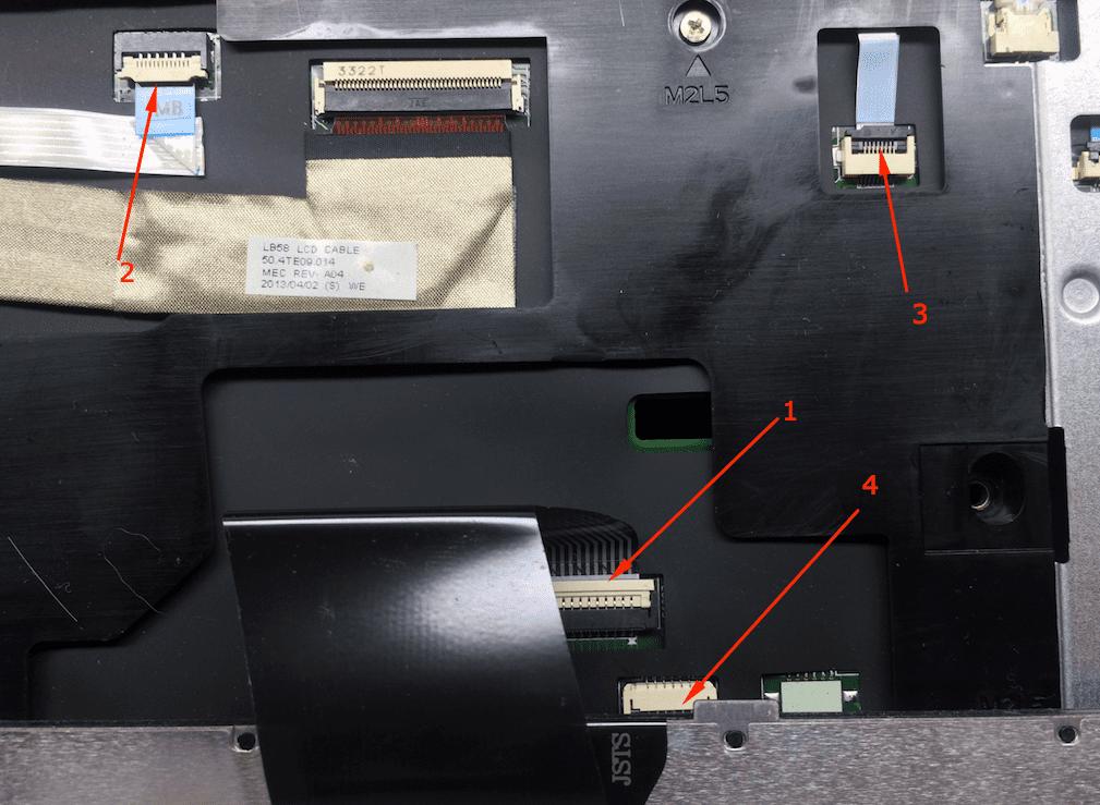 Отключение шлейфов клавиатуры кнопки питания тачпада и индикаторной панели на ноутбуке B590 Леново разборка