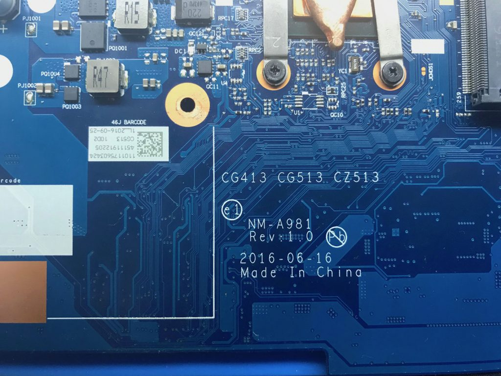 CG413 CG513 CZ513 NM-A981 Rev: 1.0 310-15IBK I5-7200 4Gb DDR4