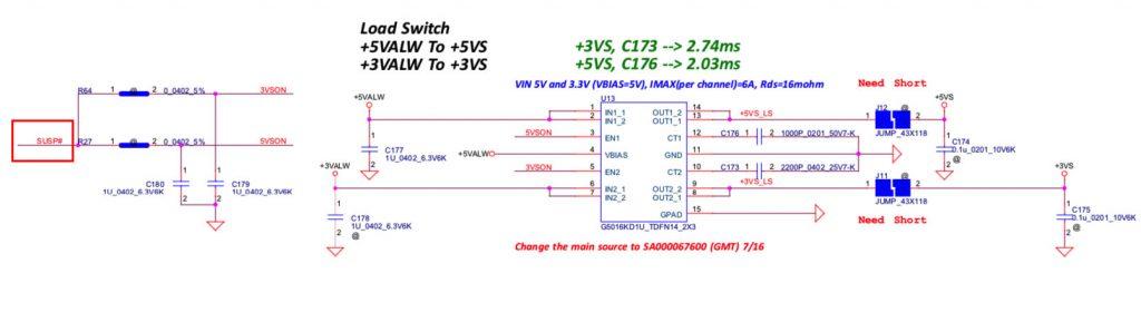 Схема G5016KD1U на плате NM-A981 отключение 3.3 и 5 вольт до появления сигнала SUSP#