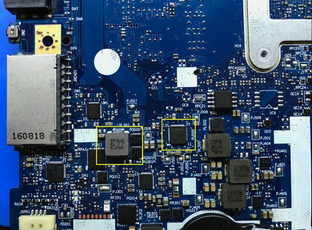Расположение микросхемы LV5075AGQV  на плате lenovo 310-15IBK и индуктивности PL501 стабилизатора напряжения 1.2 вольт для RAM DDR4