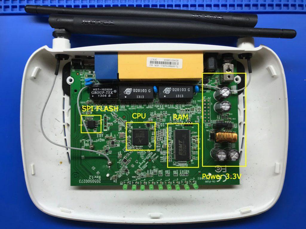Плата роутера TP-Link 841 с процессором AR9341 и расположение основных элементов