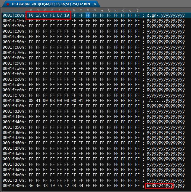 Места замены MAC адреса роутера и ПИН кода ВайФай в дампе прошивки в HEX редакторе