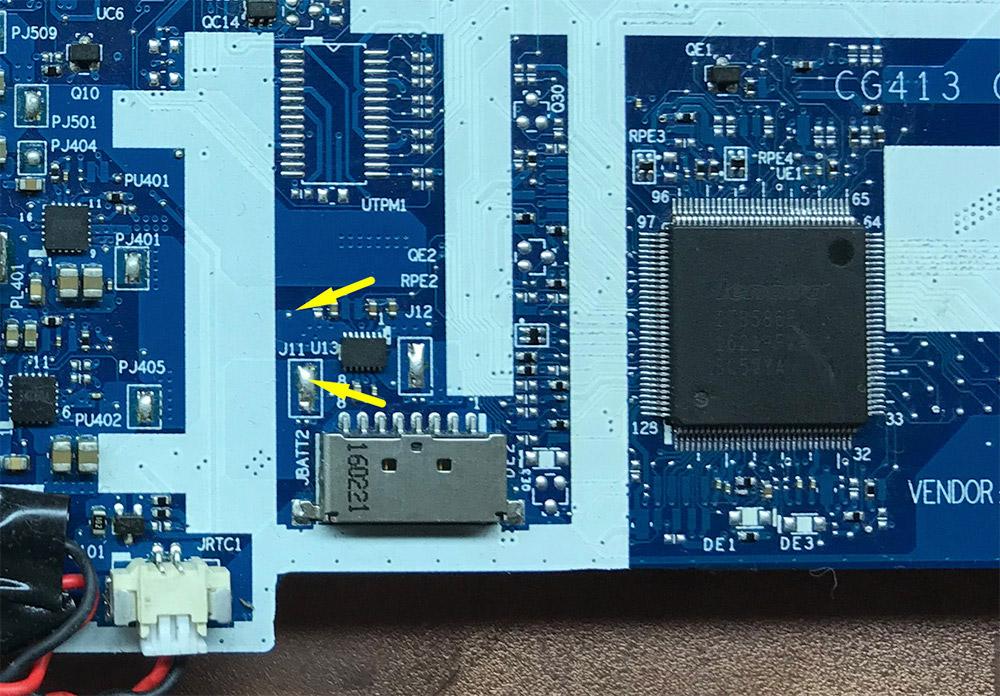 Место расположение на плате NM-A981 перемычки для подачи питания +3VS на IT8586E для его прошивки