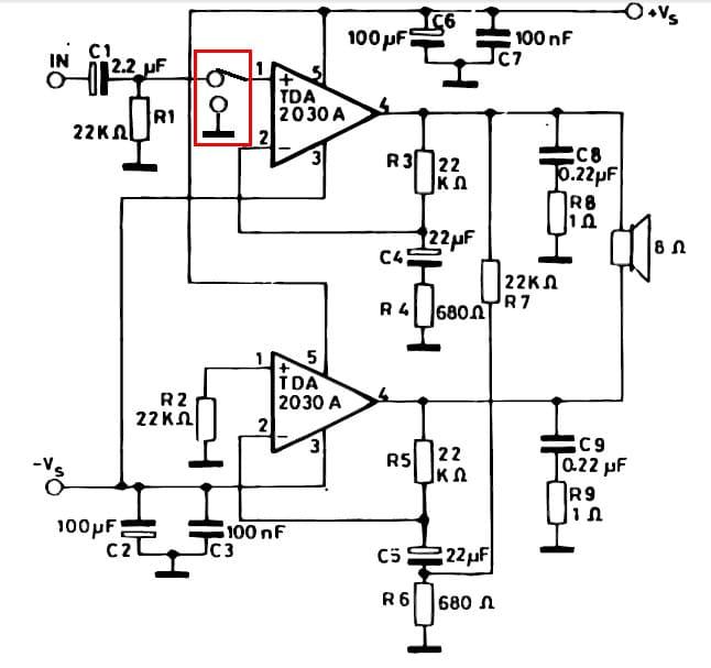 схема mute tda2030 отключение канала усилителя тда2030